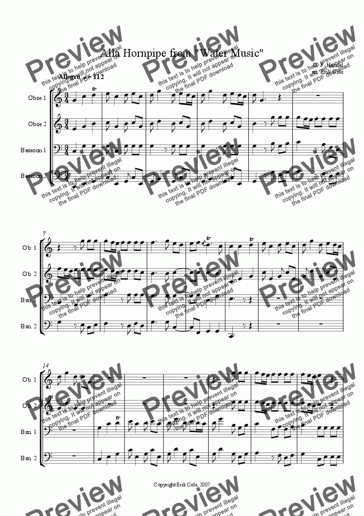 page one of Alla Hornpipe from Water Music