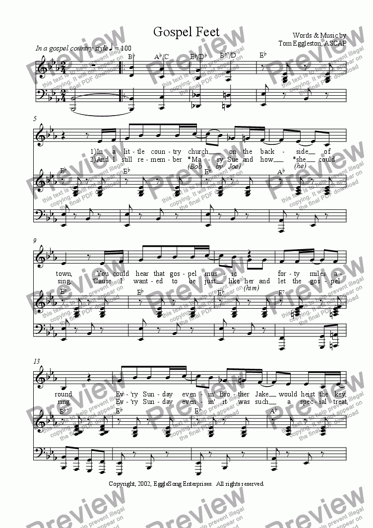 page one of Gospel Feet (Solo)