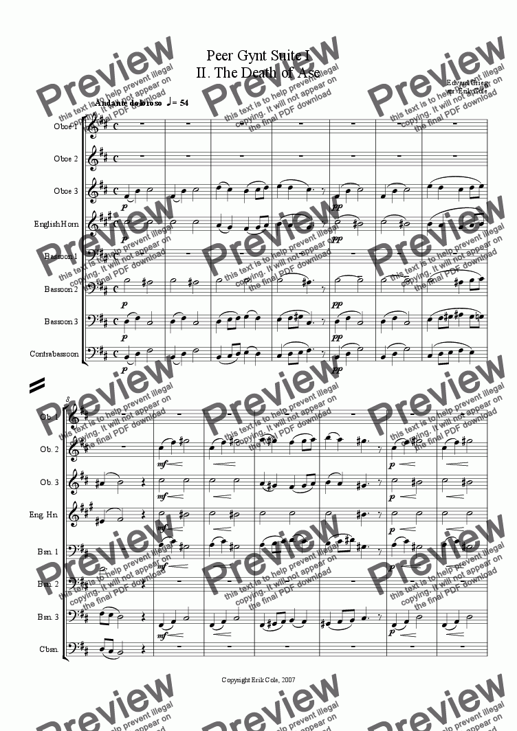 page one of Peer Gynt Suite 2. Ase's Death