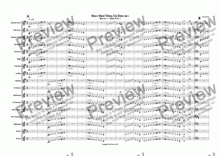 page one of Brass Band Warm Up Exercises 11-20