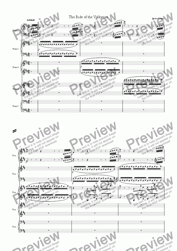 page one of Ride of the Valkyries (5 Pianos)