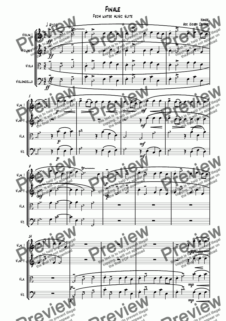 page one of Water Music-Finale (String quartet)ASALTTEXT