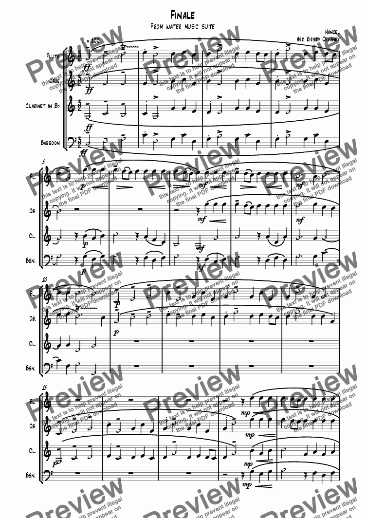 page one of Water Music-Finale (Wind Quartet)ASALTTEXT