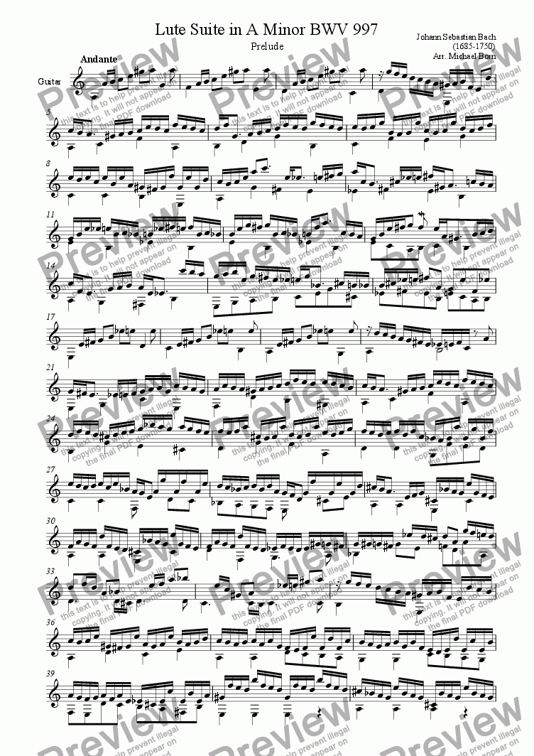 page one of Prelude from Lute Suite BWV 997