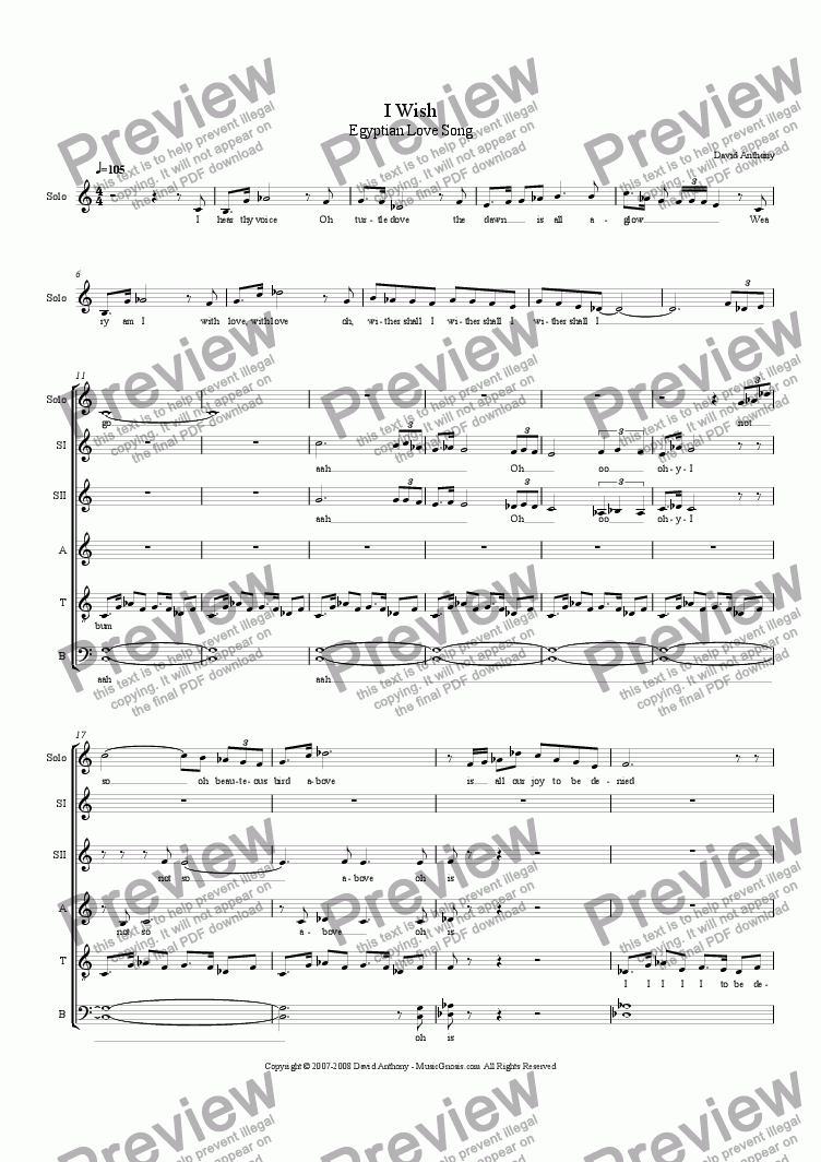 page one of I Wish - Egyptian Love Song