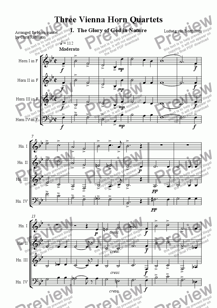 page one of Three Viennese Horn Quartets - Complete SetASALTTEXT
