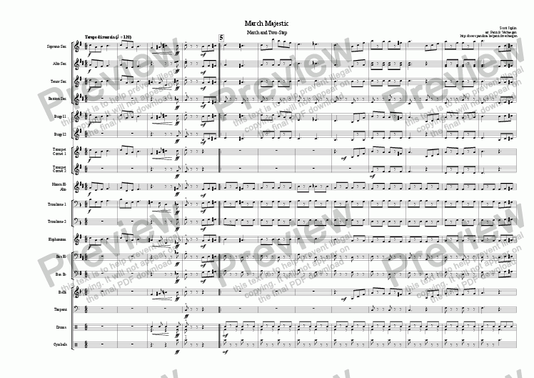 page one of March Majestic (for fanfare band)ASALTTEXT