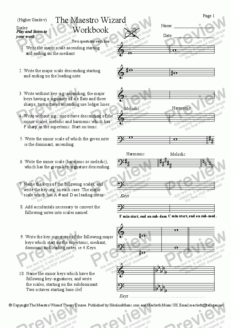 Wizard Theory 1 Scales for Worksheets by James Mackie - Sheet Music PDF  file to download
