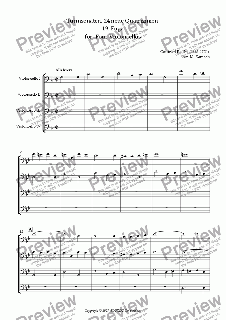 page one of Turmsonaten. 24 neue Quatrizinien 19. Fuga for Four VioloncellosASALTTEXT
