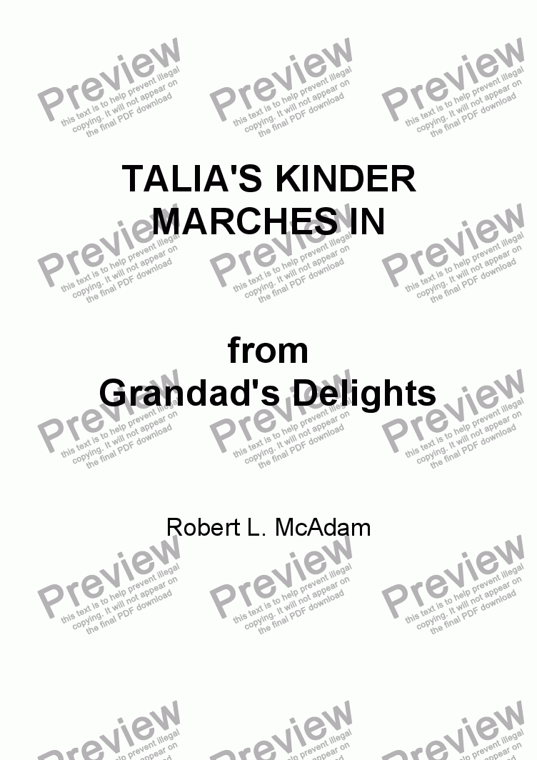 page one of TALIA'S KINDER MARCHES IN