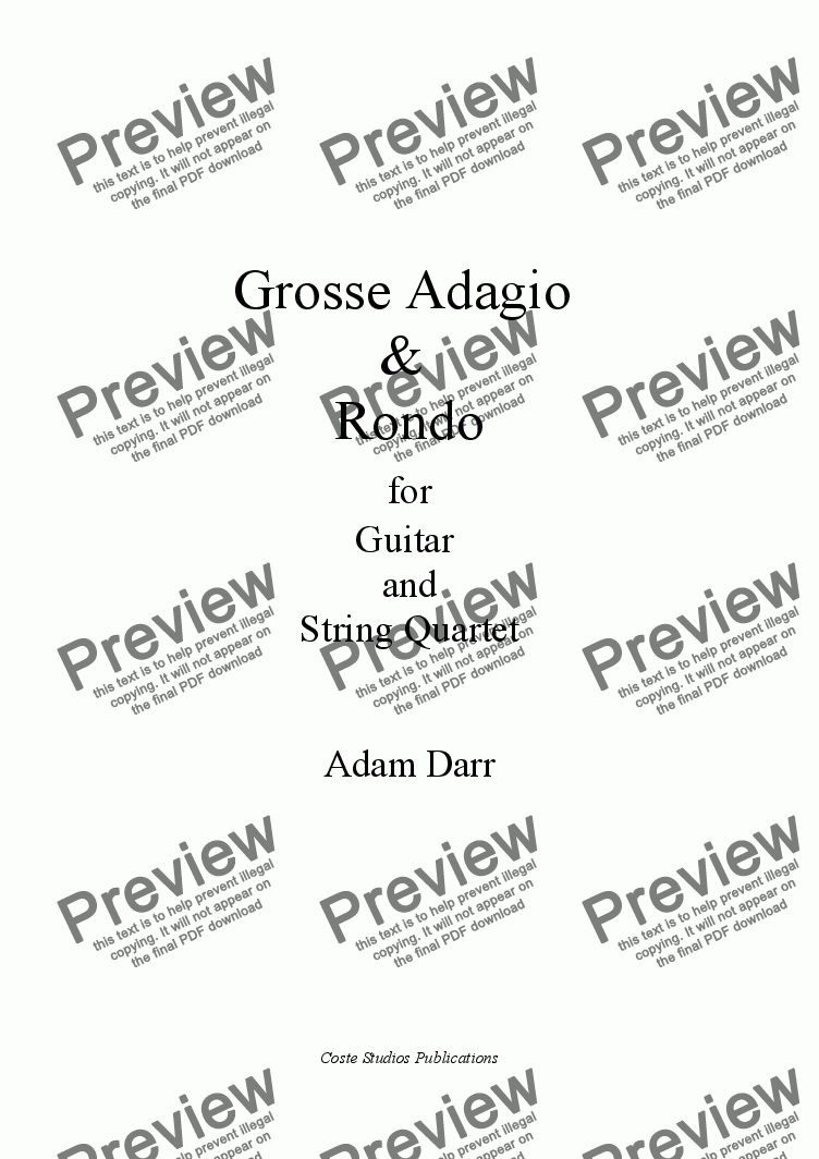 page one of Grosses Adagio & Rondo for Guitar and String Quartet