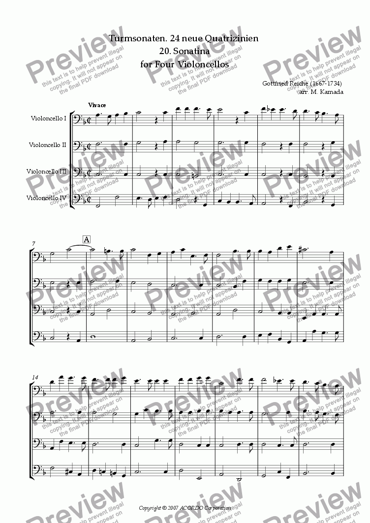 page one of Turmsonaten. 24 neue Quatrizinien 20. Sonatina for Four Violoncellos