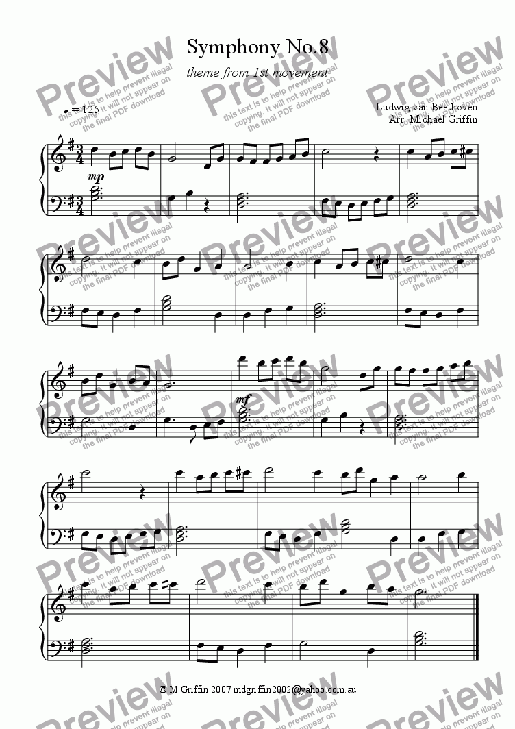 page one of Symphony No.8