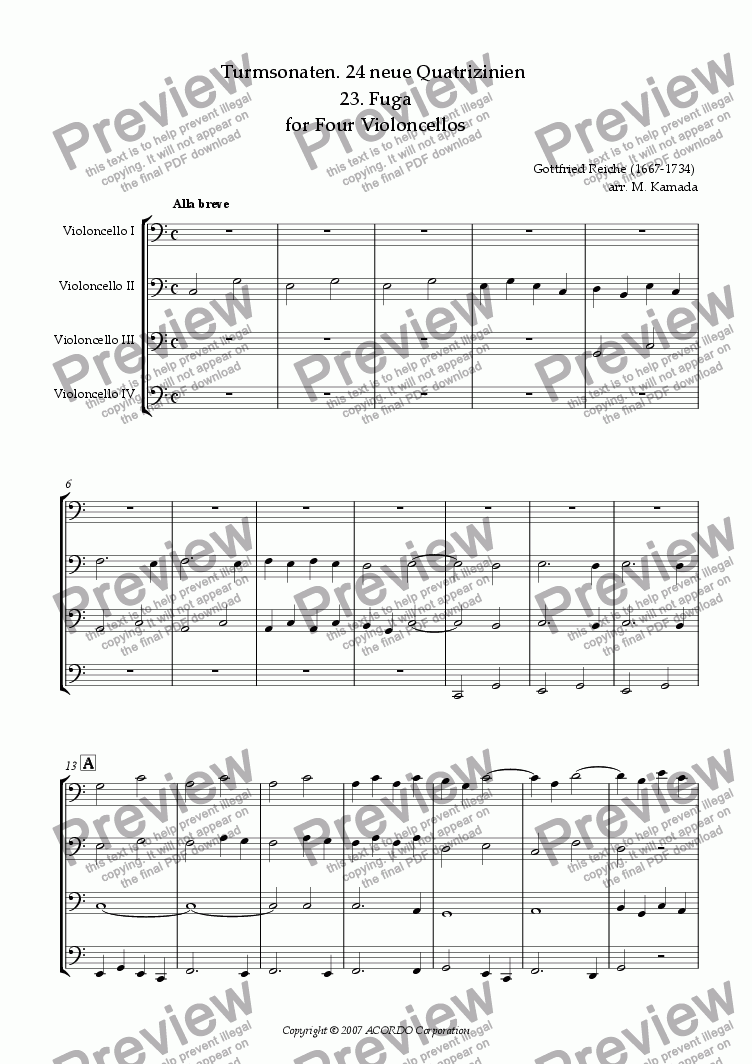 page one of Turmsonaten. 24 neue Quatrizinien 23. Fuga for Four Violoncellos
