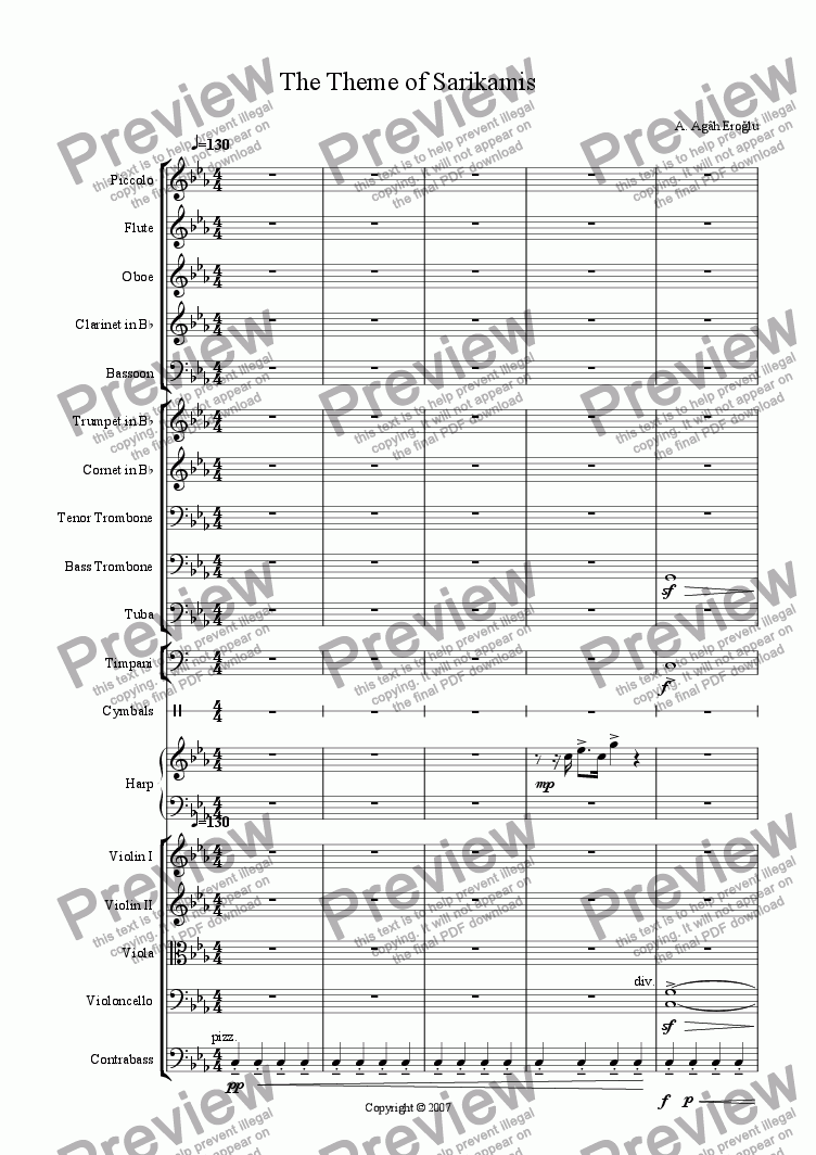 page one of Overture - The Theme of Sarikamis and Allahuekber Mountains for OrchestraASALTTEXT