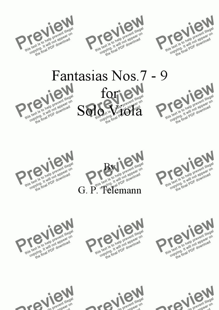 page one of Telemann Fantasias Nos. 7-9 for Solo Viola
