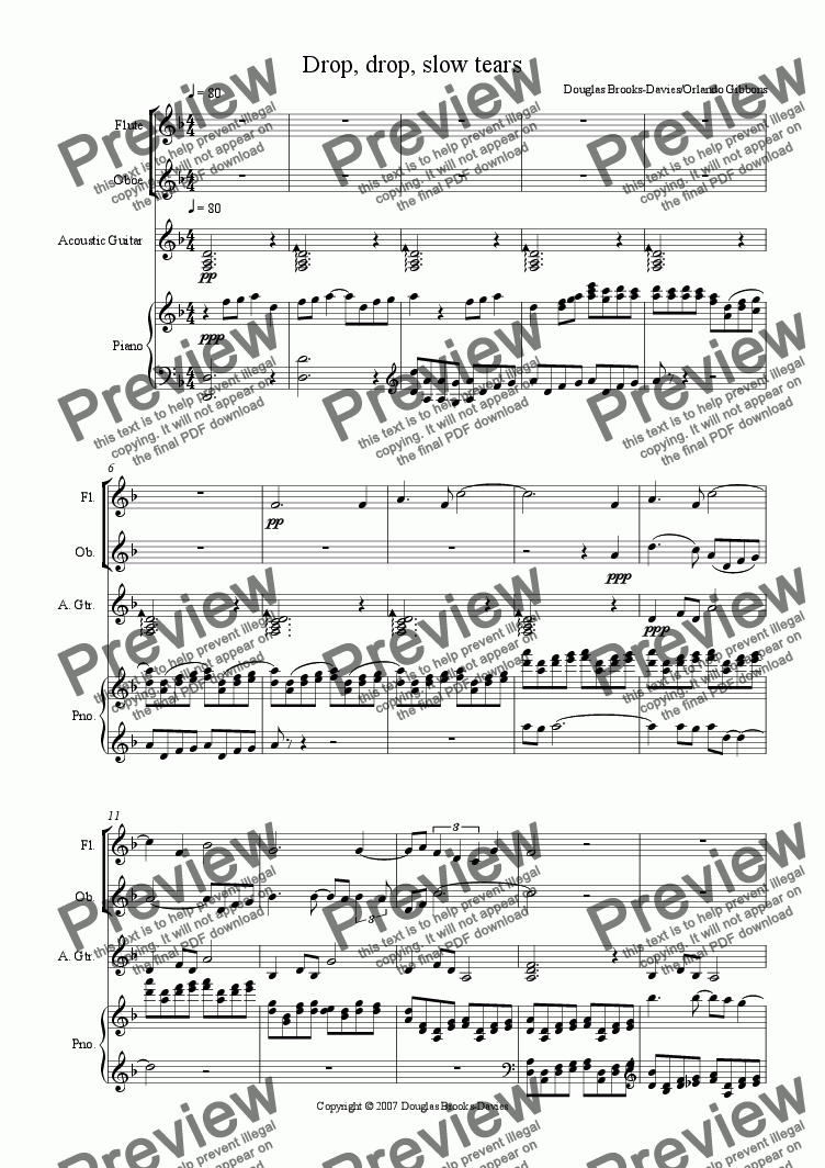 Gibbons: Drop, drop, slow tears: An instrumental prelude (for fl, ob,  guitar, keyboard) for Quartet by Orlando Gibbons - Sheet Music PDF file to