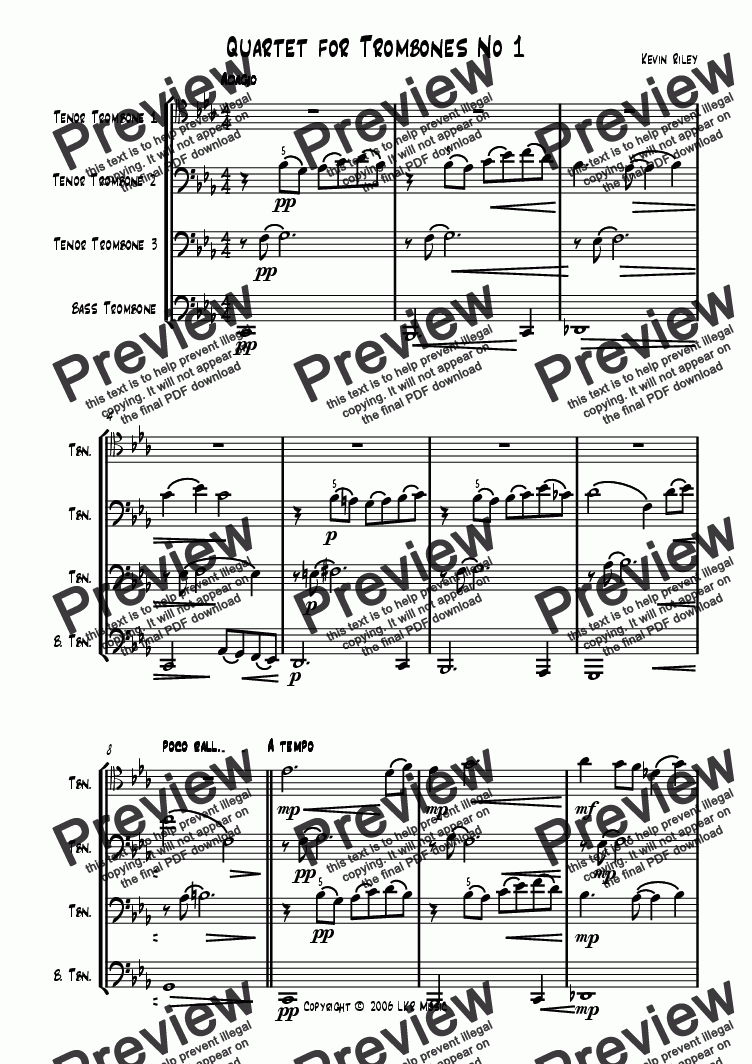 page one of Quartet for Trombones No 1