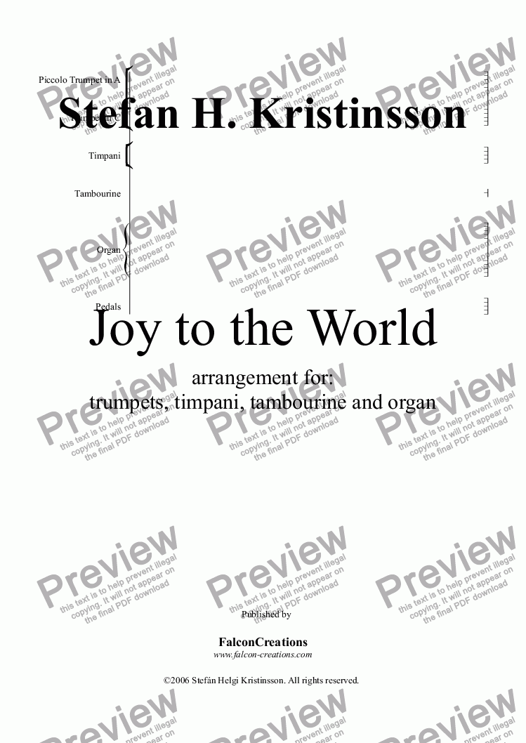 page one of Joy to the world