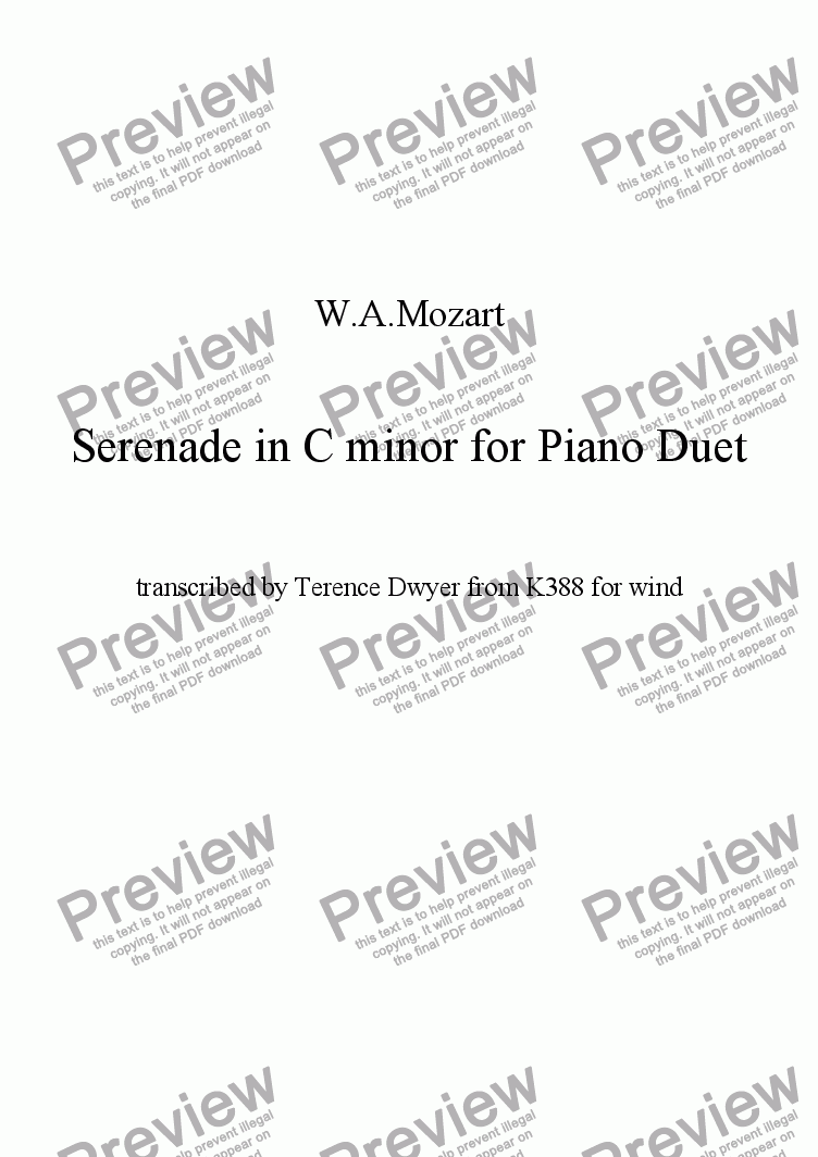 page one of Mozart Serenade for piano duet