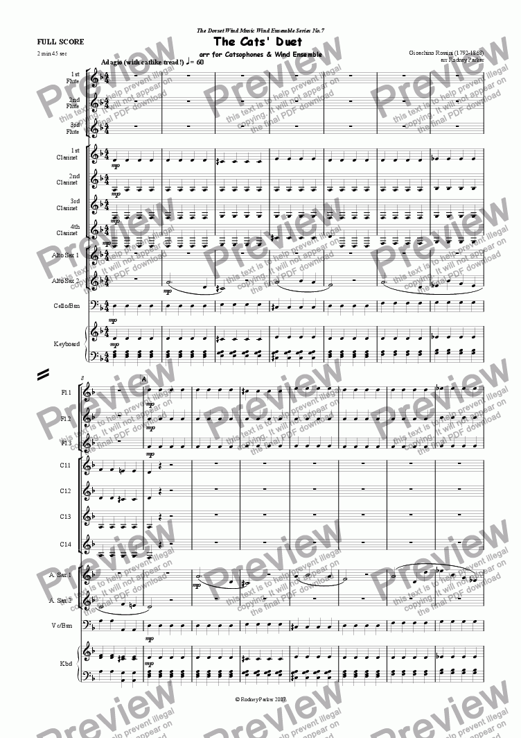 page one of The Cats' Duet for Wind EnsembleASALTTEXT