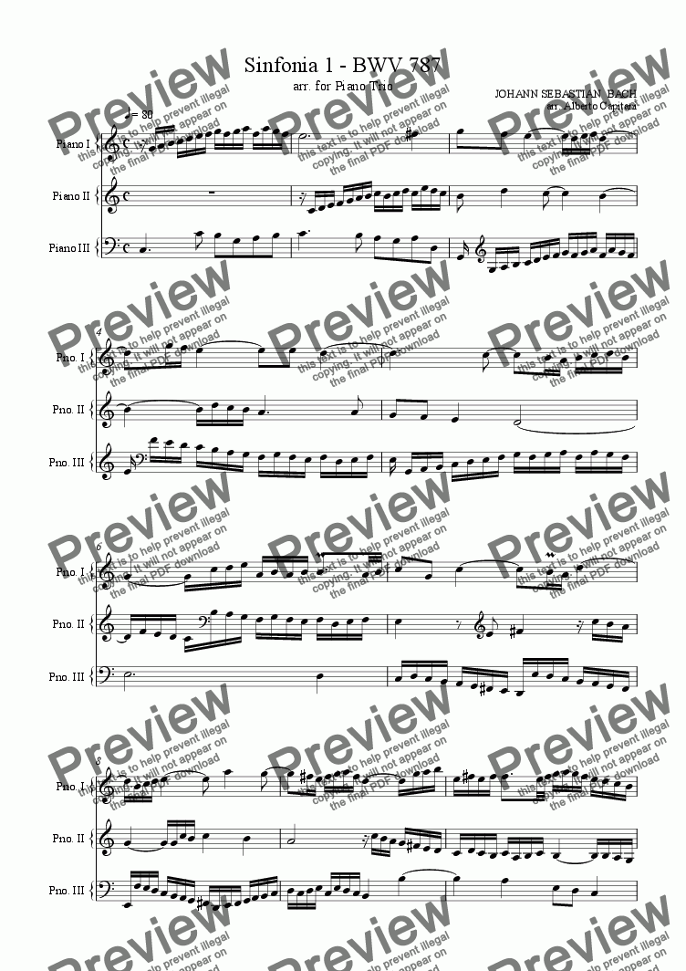 page one of Sinfonia 1 - BWV 787 - arr. for Piano Trio