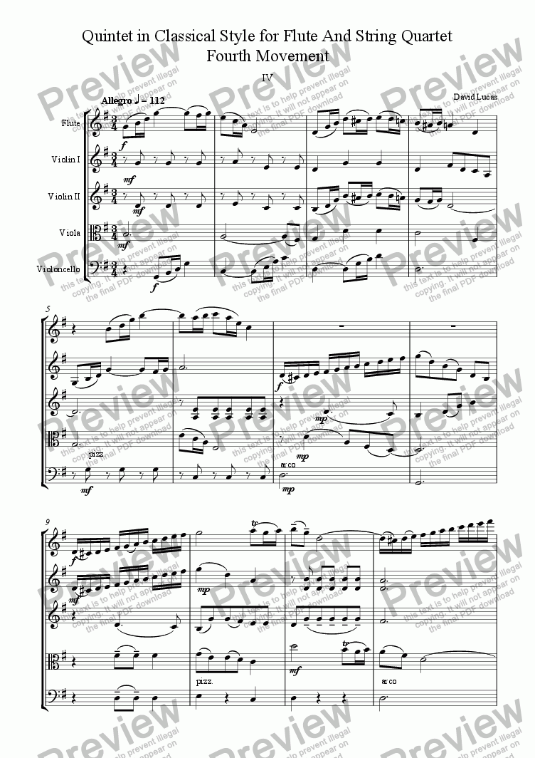 page one of Quintet in Classical Style for Flute and String Quartet 4th Movement