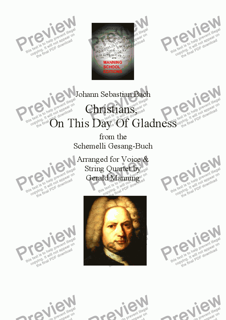 page one of Reliquary of Sacred Music - Bach, J.S.- Christians, On This Day Of Gladness from the Schemelli Gesang-buch - arr. for High Voice & String Quartet  by Gerald Manning