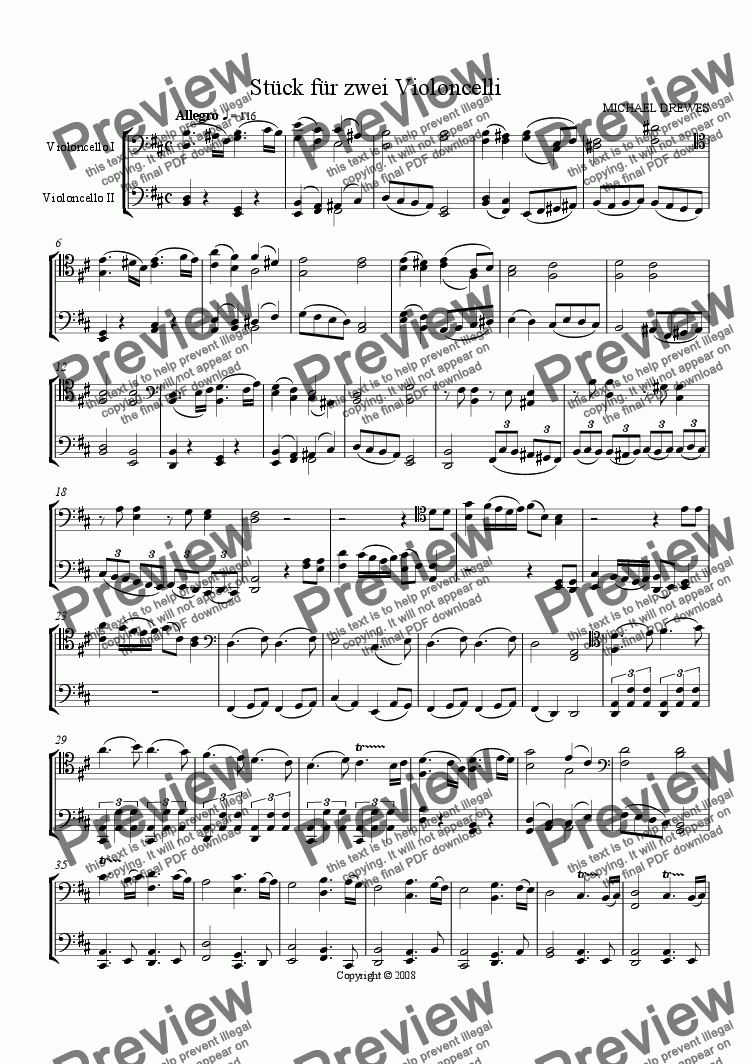 page one of Piece for Two Violoncellos