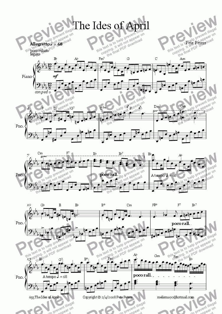 page one of The Ides of April [Piano solo]ASALTTEXT