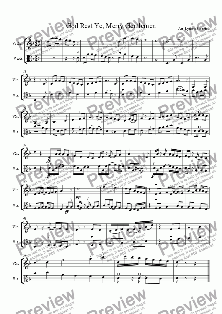 page one of God Rest Ye, Merry Gentlemen (violin, viola)