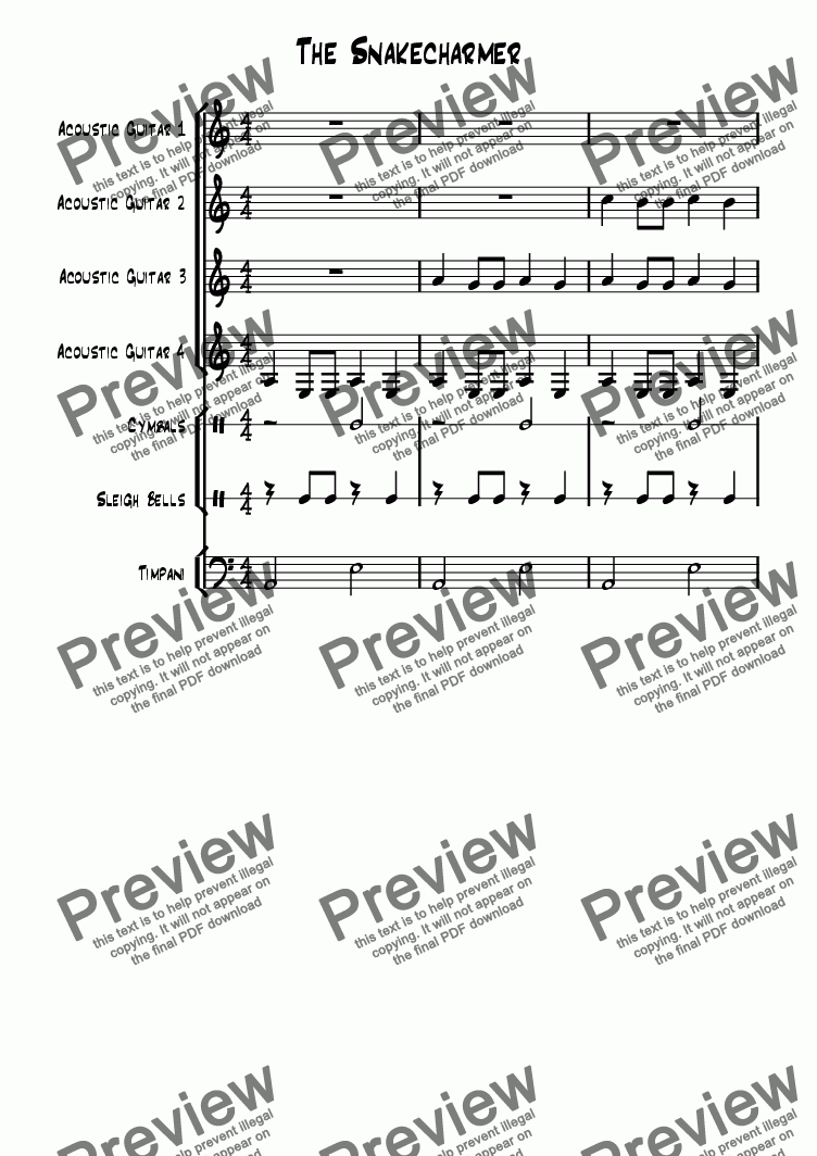 page one of The Snakecharmer -  short version for guitar quartet and percussion