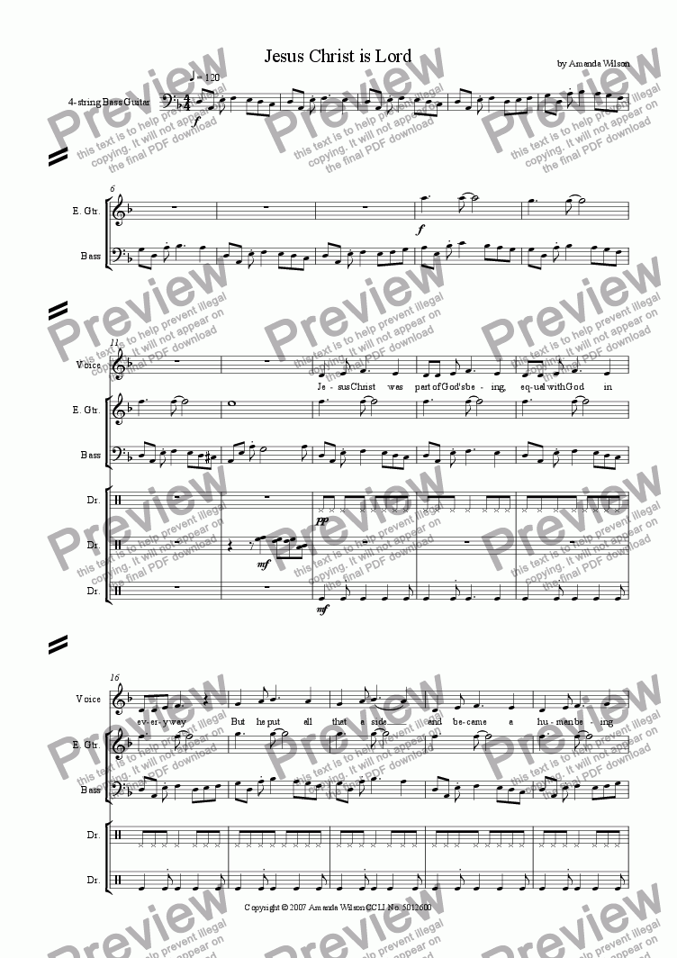 page one of Jesus Christ is Lord (guitar/band)