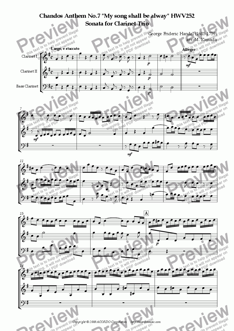 "page one of Chandos Anthem No.7 ""My song shall be alway"" HWV252 Sonata for Clarinet Trio"