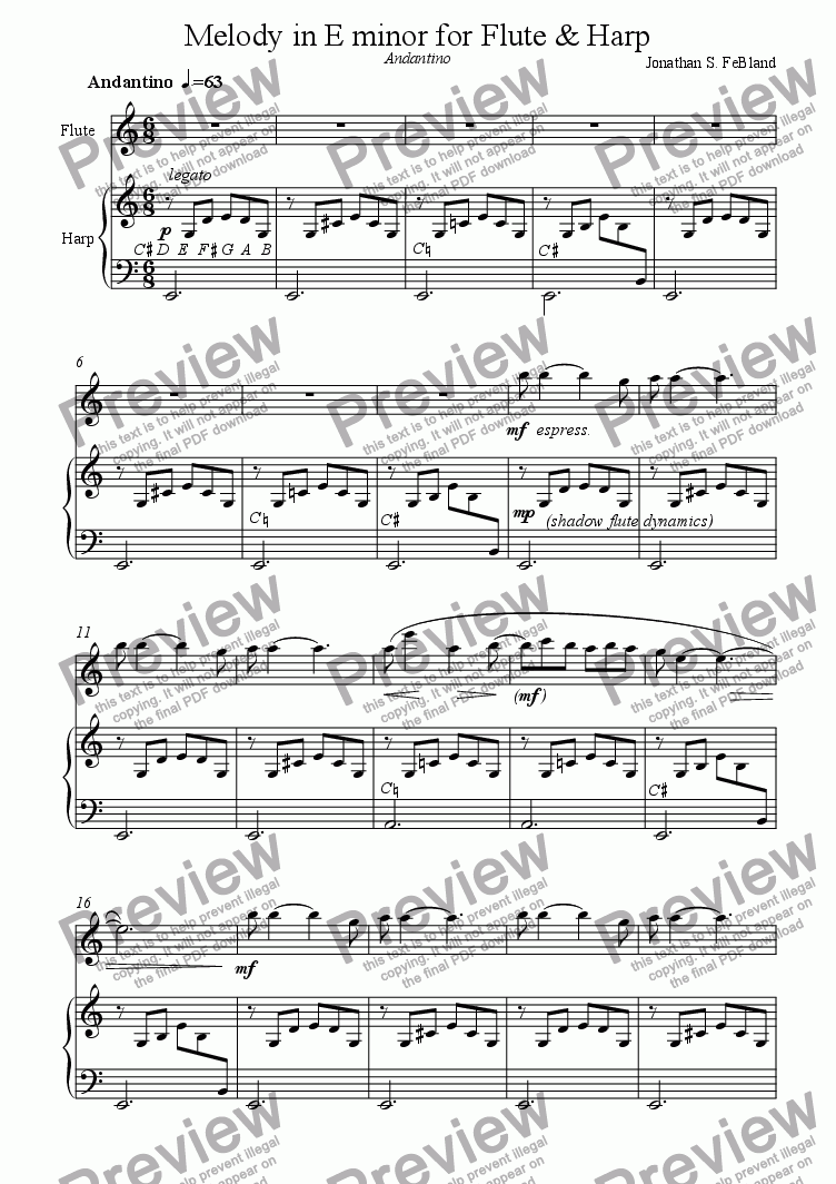 page one of Melody for Flute and HarpASALTTEXT