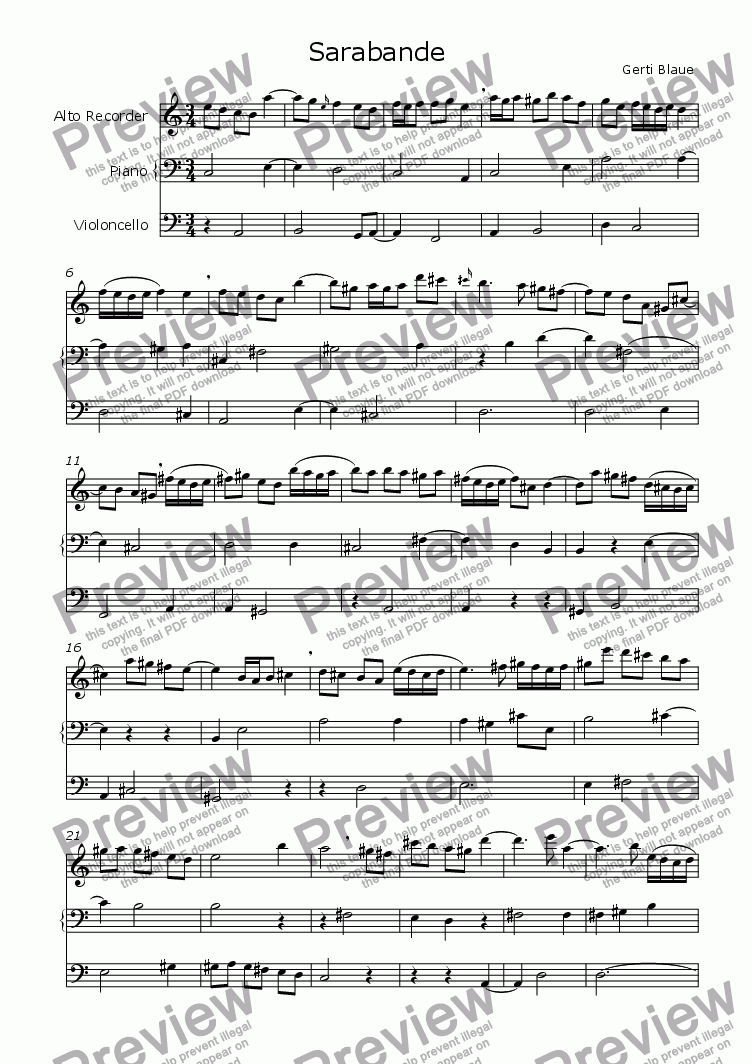 page one of Sarabande