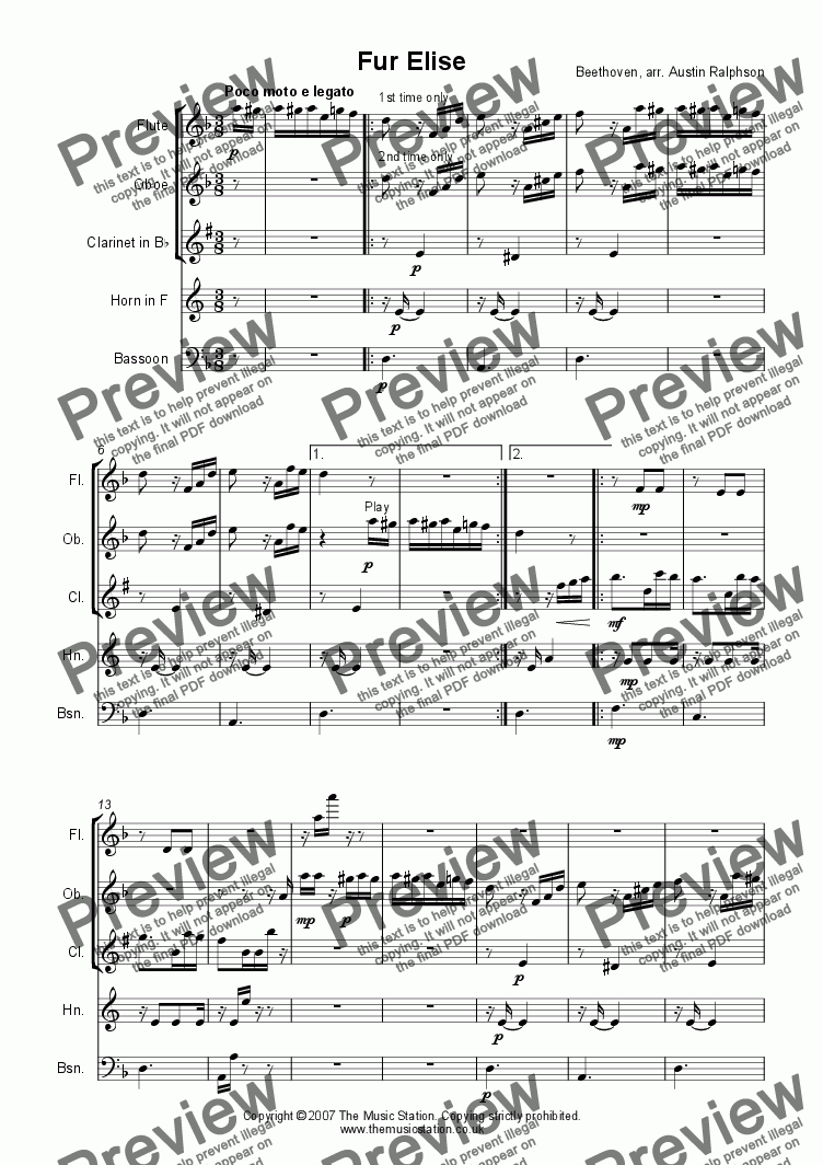 page one of Fur Elise - wind quintet
