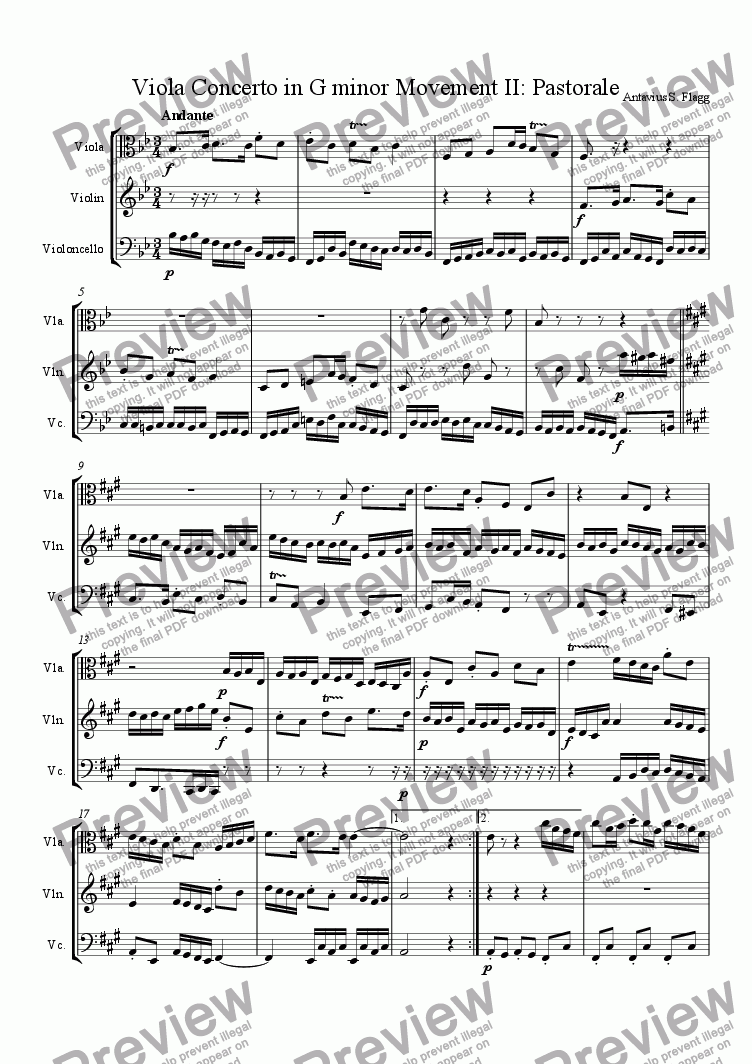 page one of Viola Concerto in G minor Movement II: Pastorale