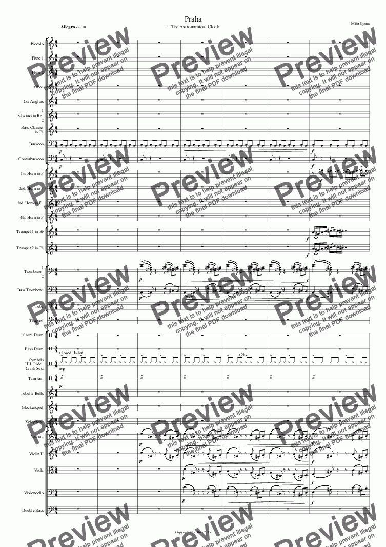 page one of Orchestral - Tone Poem - Praha 1st. Movement