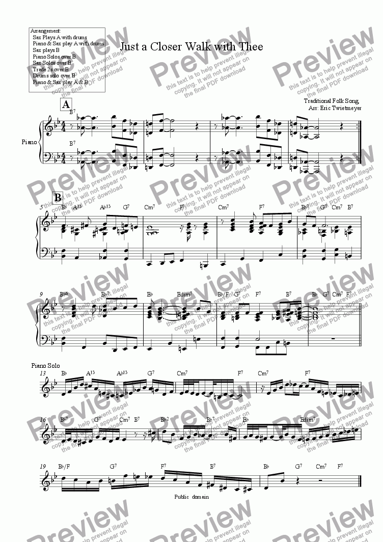 Just a Closer Walk with Thee for Solo Piano + piano by anon  - Sheet Music  PDF file to download