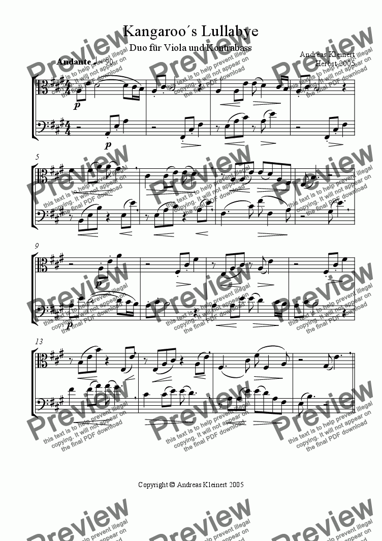 page one of Kangaroo´s Lullbye for viola and contrabass