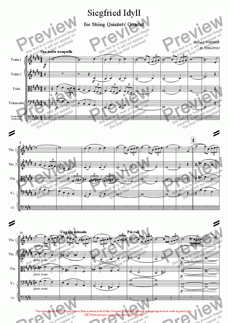 page one of Siegfried Idyll
