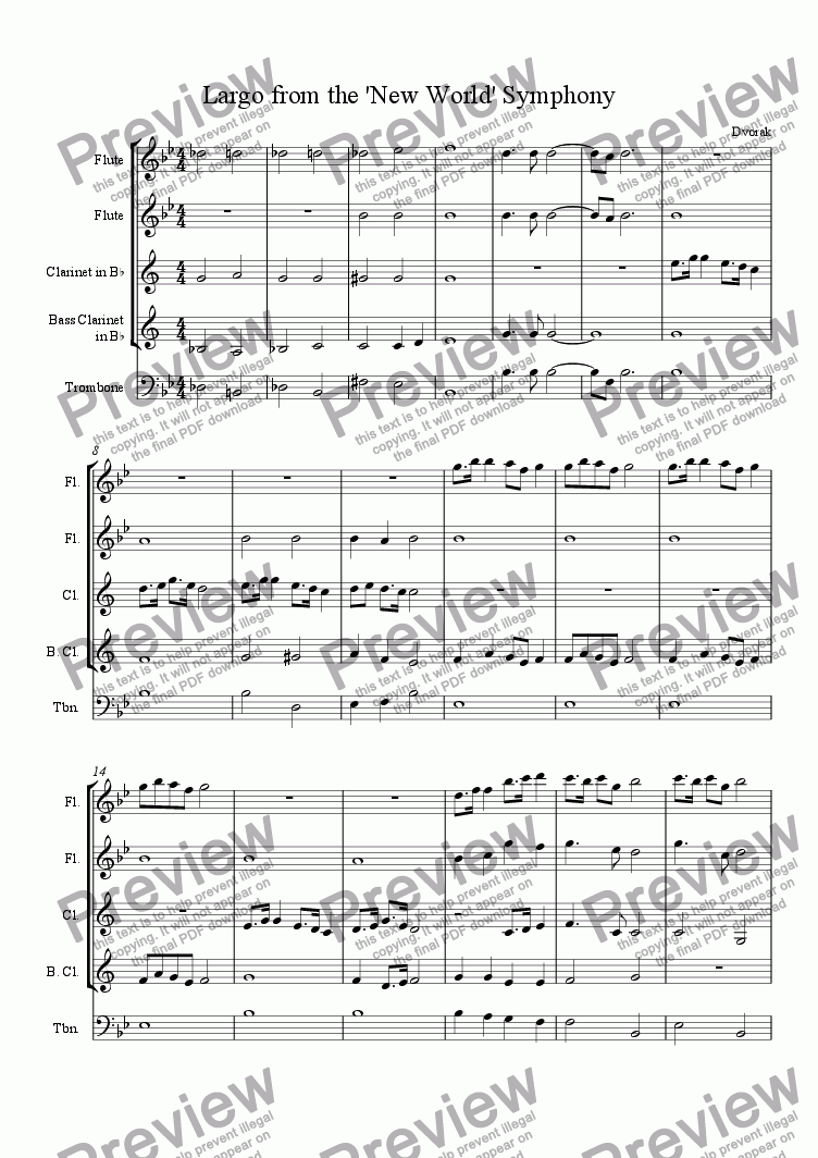 page one of Largo from the 'New World Symphony' (2nd movement)