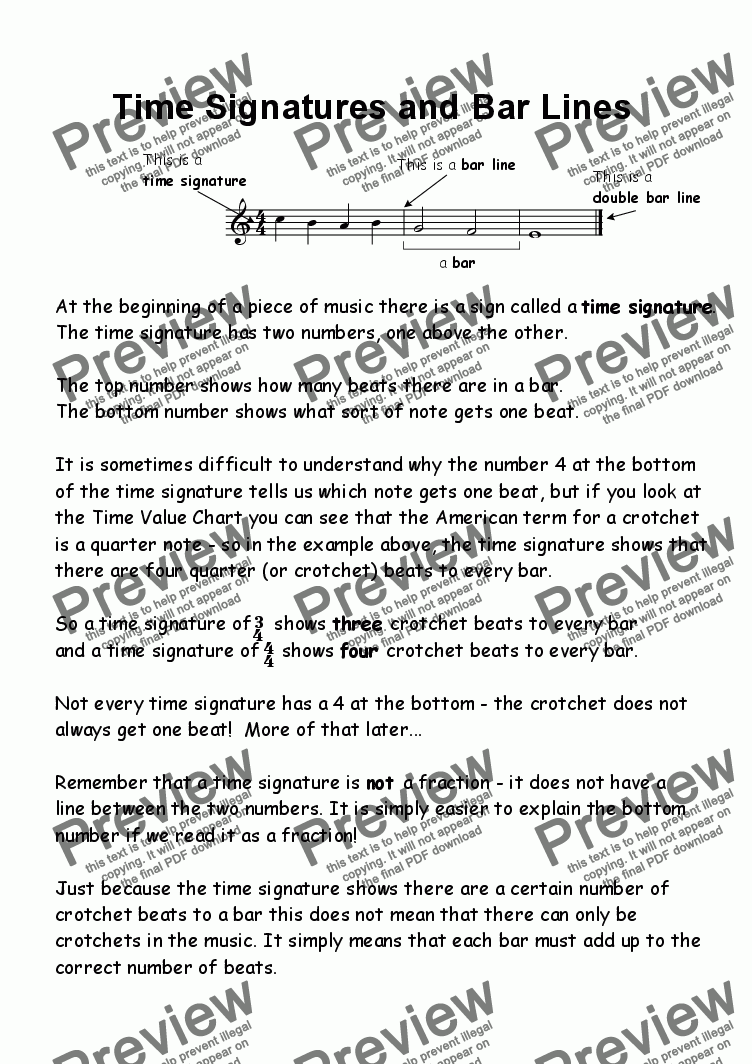 page one of Helpsheet: Time Signatures and Bar Lines