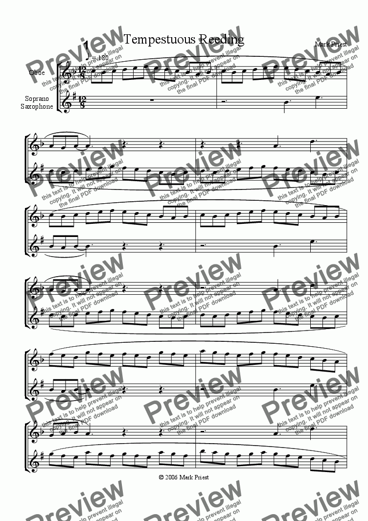 page one of Tempestuous Reedings, for oboe and soprano saxophone