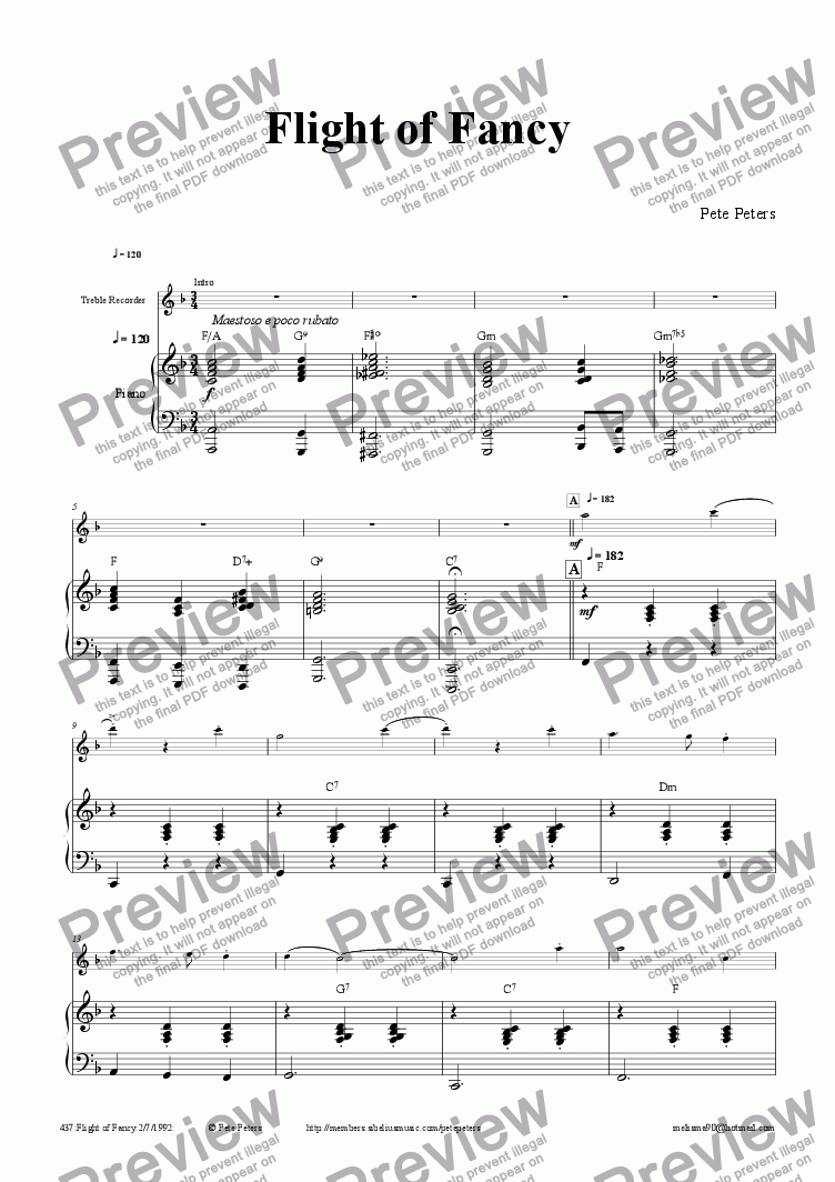 page one of Flight of Fancy [Rec or Flute etc]