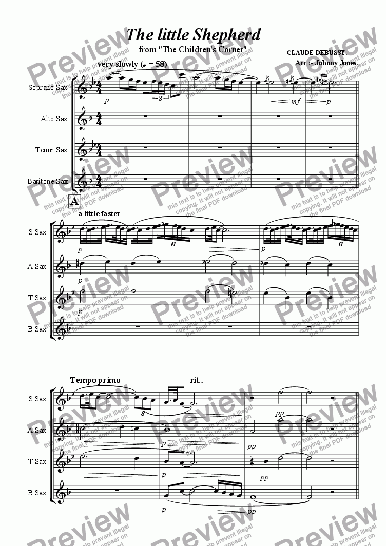 page one of Little Shepherd The   (Saxophone Quartet)