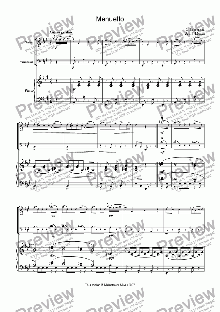 page one of Minuet - Piano TrioASALTTEXT