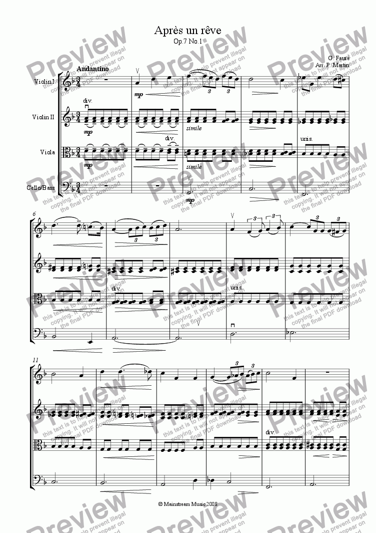 page one of Apres un reve - String Orchestra
