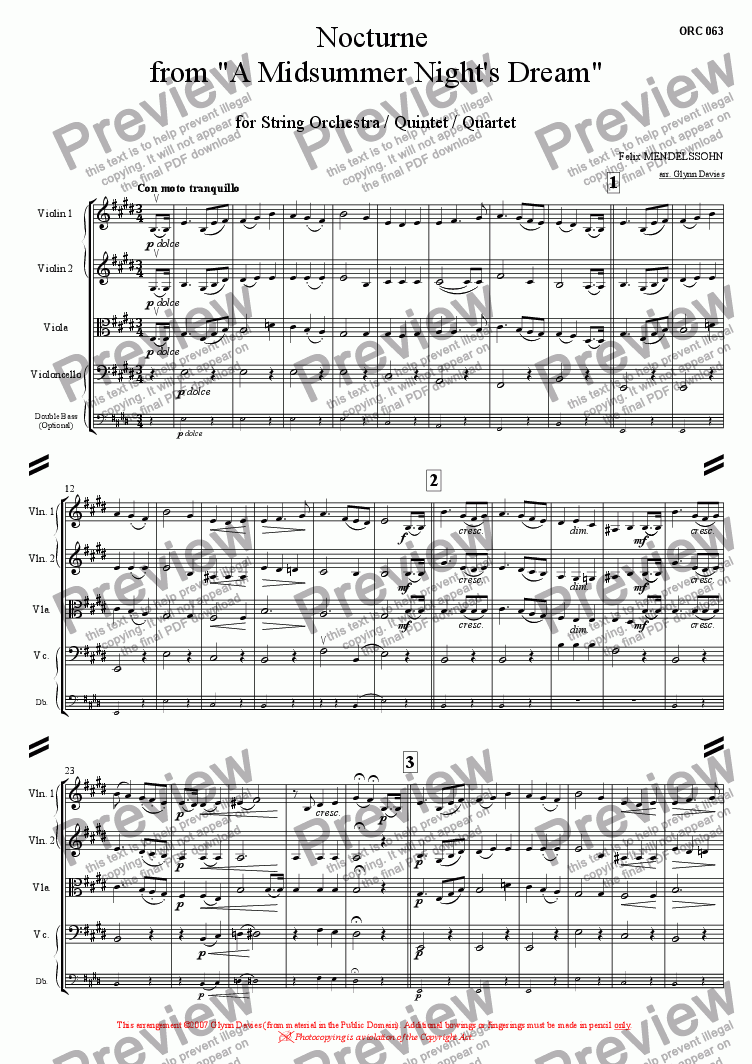 page one of A Midsummer Night's Dream Op.61 - Nocturne